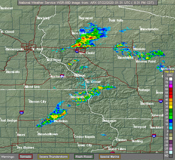 Radar Image for Severe Thunderstorms near Altoona, WI at 7/21/2020 8:35 PM CDT