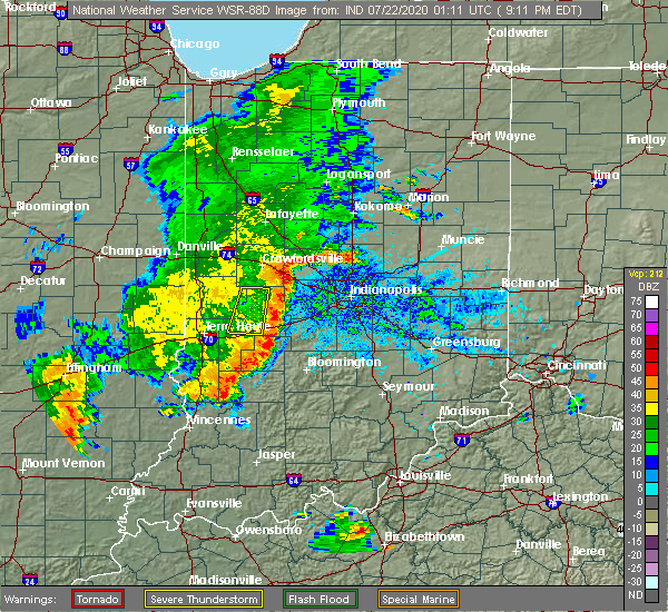 Radar Image for Severe Thunderstorms near Avon, IN at 7/21/2020 9:36 PM EDT