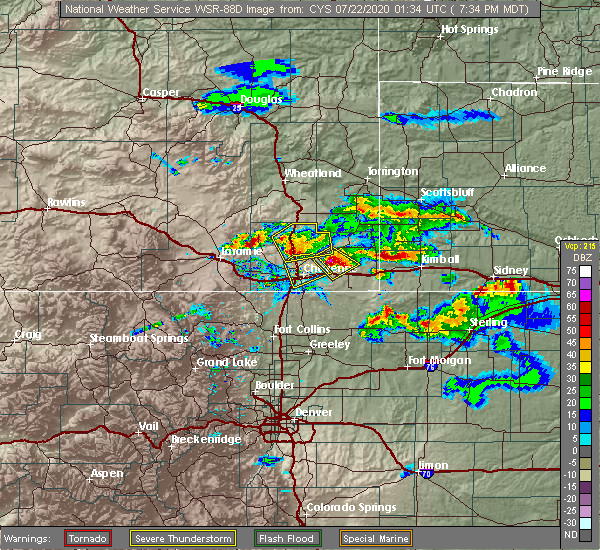Radar Image for Severe Thunderstorms near Ranchettes, WY at 7/21/2020 7:40 PM MDT
