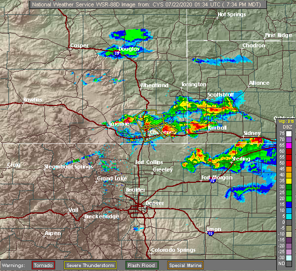 Radar Image for Severe Thunderstorms near Hillsdale, WY at 7/21/2020 7:43 PM MDT