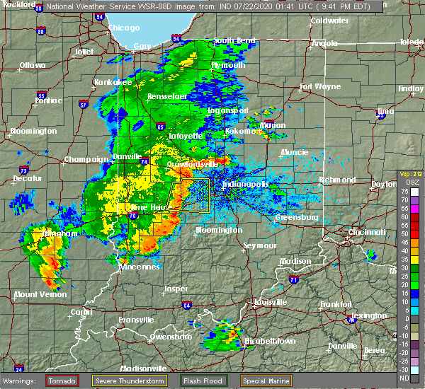 Radar Image for Severe Thunderstorms near Avon, IN at 7/21/2020 9:48 PM EDT