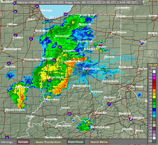 Radar Image for Severe Thunderstorms near Avon, IN at 7/21/2020 9:55 PM EDT