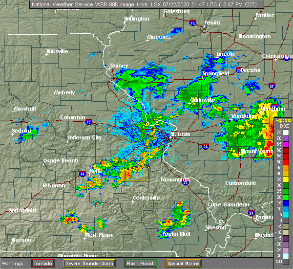 Radar Image for Severe Thunderstorms near Potosi, MO at 7/21/2020 8:56 PM CDT