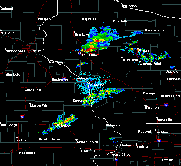 Radar Image for Severe Thunderstorms near Cadott, WI at 7/21/2020 9:10 PM CDT