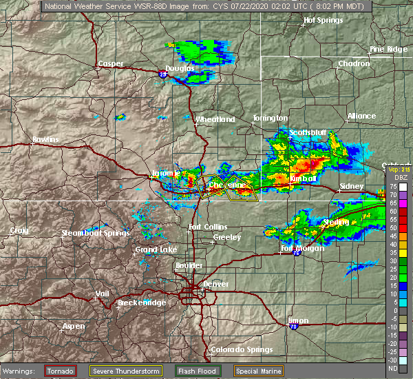 Radar Image for Severe Thunderstorms near Ranchettes, WY at 7/21/2020 8:12 PM MDT