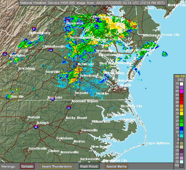 Radar Image for Severe Thunderstorms near Mechanicsville, VA at 7/21/2020 10:18 PM EDT