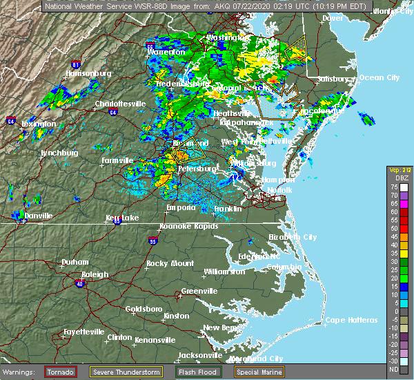 Radar Image for Severe Thunderstorms near Mechanicsville, VA at 7/21/2020 10:28 PM EDT
