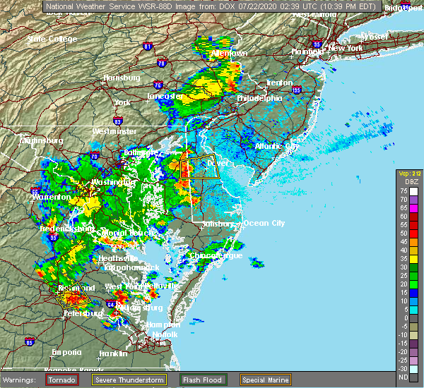 Radar Image for Severe Thunderstorms near Barclay, MD at 7/21/2020 10:42 PM EDT