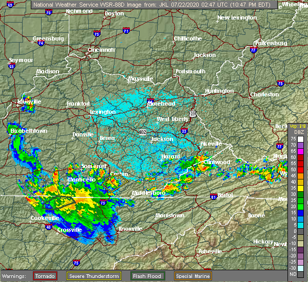 Radar Image for Severe Thunderstorms near Barbourville, KY at 7/21/2020 10:50 PM EDT