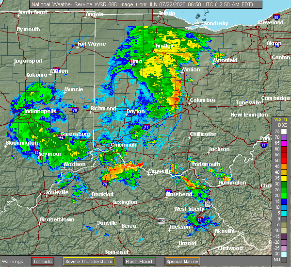 Radar Image for Severe Thunderstorms near Georgetown, OH at 7/22/2020 2:55 AM EDT