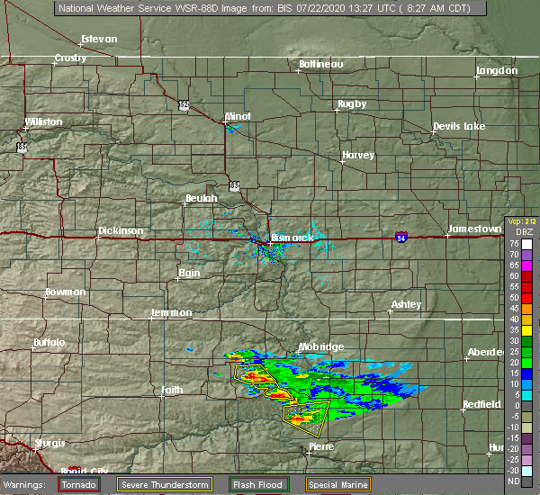 Radar Image for Severe Thunderstorms near La Plant, SD at 7/22/2020 7:29 AM MDT