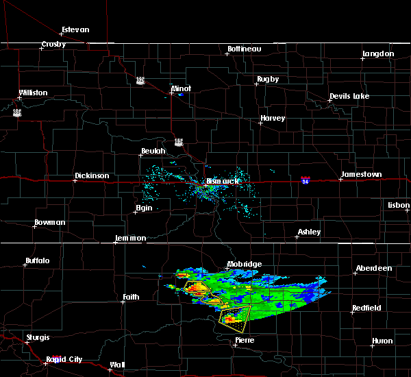 Radar Image for Severe Thunderstorms near La Plant, SD at 7/22/2020 7:44 AM MDT