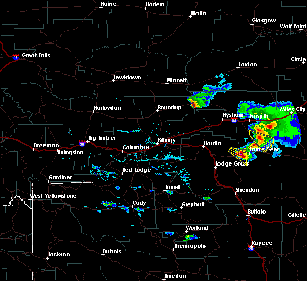 Radar Image for Severe Thunderstorms near Muddy, MT at 7/1/2015 6:56 PM MDT