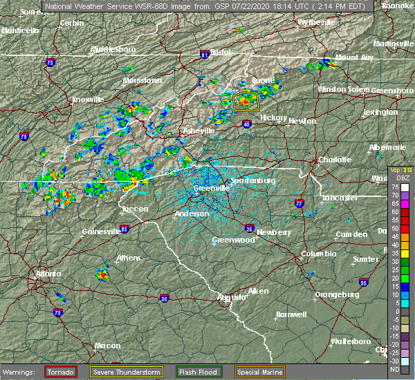 Radar Image for Severe Thunderstorms near Horse Shoe, NC at 7/22/2020 2:23 PM EDT