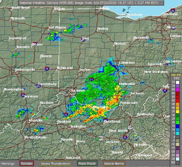 Radar Image for Severe Thunderstorms near Lucasville, OH at 7/22/2020 3:28 PM EDT