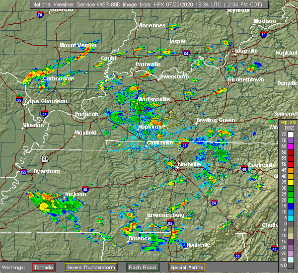 Radar Image for Severe Thunderstorms near Lewisburg, KY at 7/22/2020 2:44 PM CDT