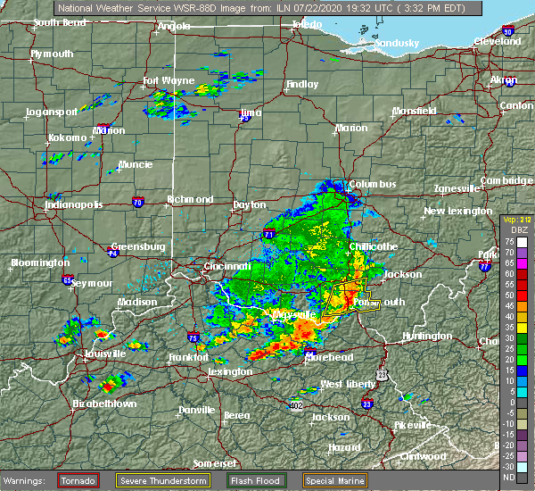 Radar Image for Severe Thunderstorms near Lucasville, OH at 7/22/2020 3:44 PM EDT