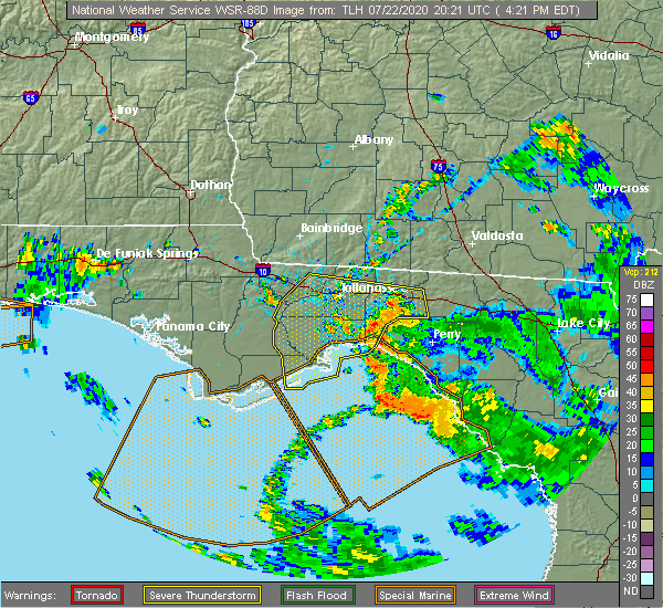 Radar Image for Severe Thunderstorms near Midway, FL at 7/22/2020 4:26 PM EDT