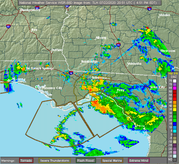 Radar Image for Severe Thunderstorms near Midway, FL at 7/22/2020 4:57 PM EDT