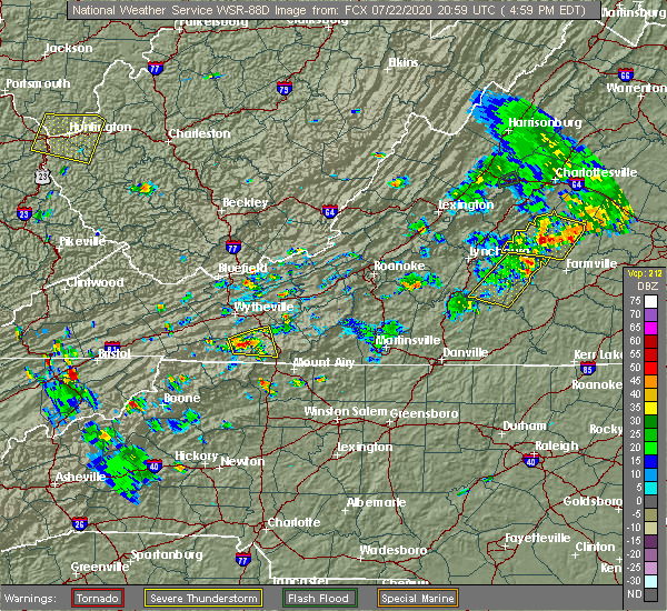 Radar Image for Severe Thunderstorms near Woodlawn, VA at 7/22/2020 5:02 PM EDT