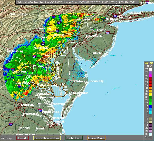 Radar Image for Severe Thunderstorms near Newark, DE at 7/22/2020 5:16 PM EDT