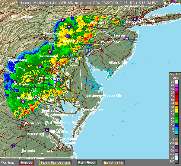 Radar Image for Severe Thunderstorms near Barclay, MD at 7/22/2020 5:26 PM EDT