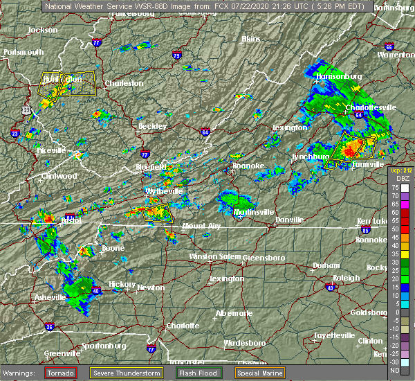 Radar Image for Severe Thunderstorms near Woodlawn, VA at 7/22/2020 5:30 PM EDT