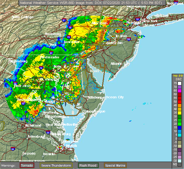 Radar Image for Severe Thunderstorms near Barclay, MD at 7/22/2020 5:57 PM EDT