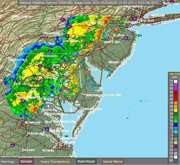 Radar Image for Severe Thunderstorms near Newark, DE at 7/22/2020 5:57 PM EDT