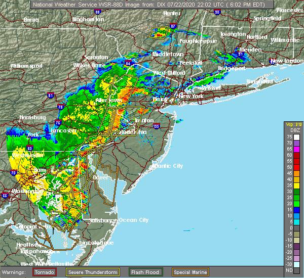 Radar Image for Severe Thunderstorms near Flemington, NJ at 7/22/2020 6:07 PM EDT