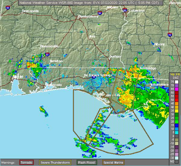 Radar Image for Severe Thunderstorms near Lynn Haven, FL at 7/22/2020 5:09 PM CDT