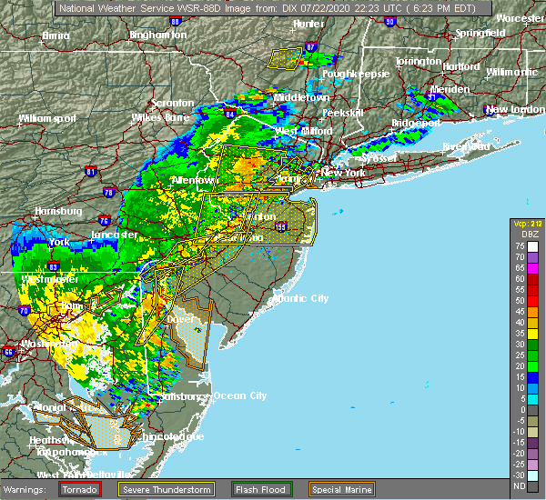 Radar Image for Severe Thunderstorms near Newtown, PA at 7/22/2020 6:30 PM EDT