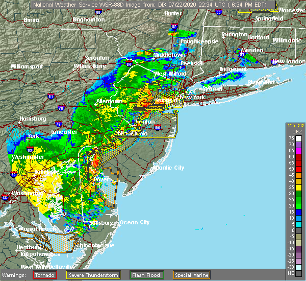Radar Image for Severe Thunderstorms near Newtown, PA at 7/22/2020 6:43 PM EDT