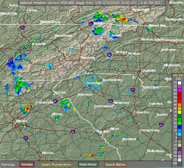 Radar Image for Severe Thunderstorms near Reidville, SC at 7/22/2020 6:48 PM EDT