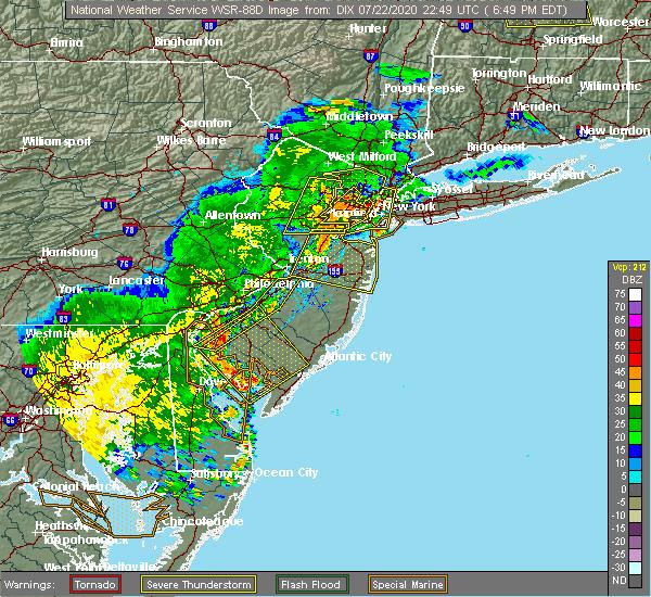 Radar Image for Severe Thunderstorms near Turnersville, NJ at 7/22/2020 6:57 PM EDT
