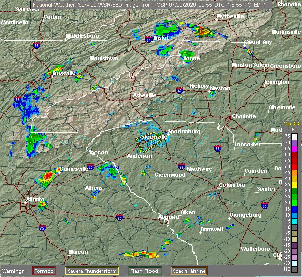Radar Image for Severe Thunderstorms near Reidville, SC at 7/22/2020 7:00 PM EDT