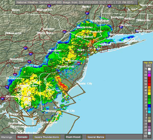 Radar Image for Severe Thunderstorms near Turnersville, NJ at 7/22/2020 7:28 PM EDT
