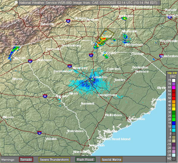 Radar Image for Severe Thunderstorms near Mount Pleasant, NC at 7/22/2020 10:22 PM EDT