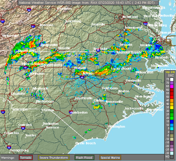 Radar Image for Severe Thunderstorms near Cary, NC at 7/23/2020 2:56 PM EDT