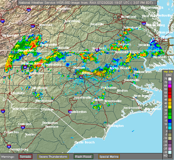 Radar Image for Severe Thunderstorms near Bailey, NC at 7/23/2020 3:19 PM EDT