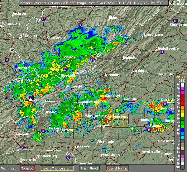 Radar Image for Severe Thunderstorms near Union Hall, VA at 7/23/2020 3:39 PM EDT