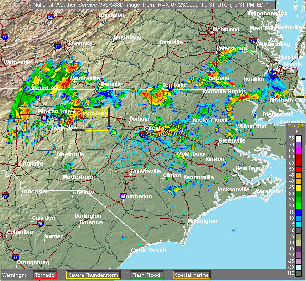 Radar Image for Severe Thunderstorms near Greensboro, NC at 7/23/2020 3:41 PM EDT