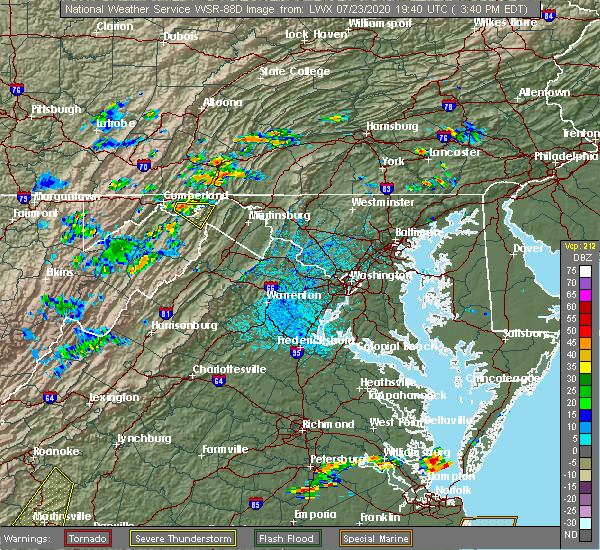 Radar Image for Severe Thunderstorms near Little Orleans, MD at 7/23/2020 3:43 PM EDT