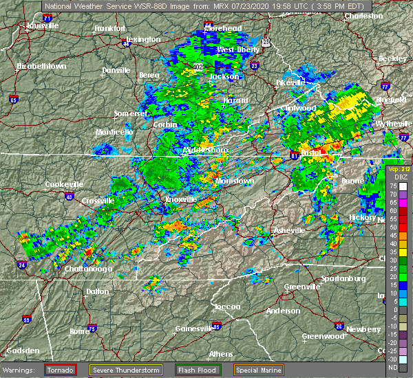 Radar Image for Severe Thunderstorms near Morristown, TN at 7/23/2020 4:02 PM EDT