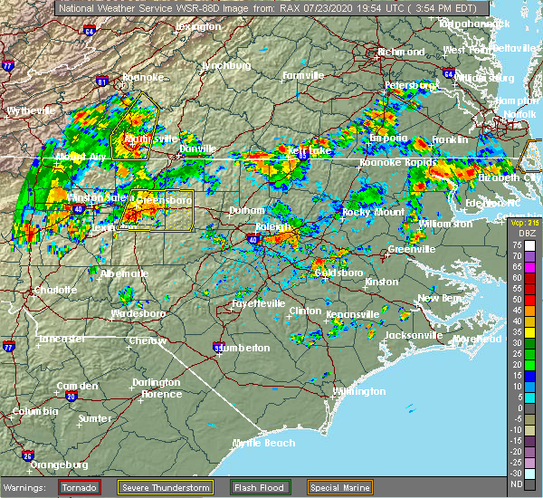 Radar Image for Severe Thunderstorms near Greensboro, NC at 7/23/2020 4:04 PM EDT