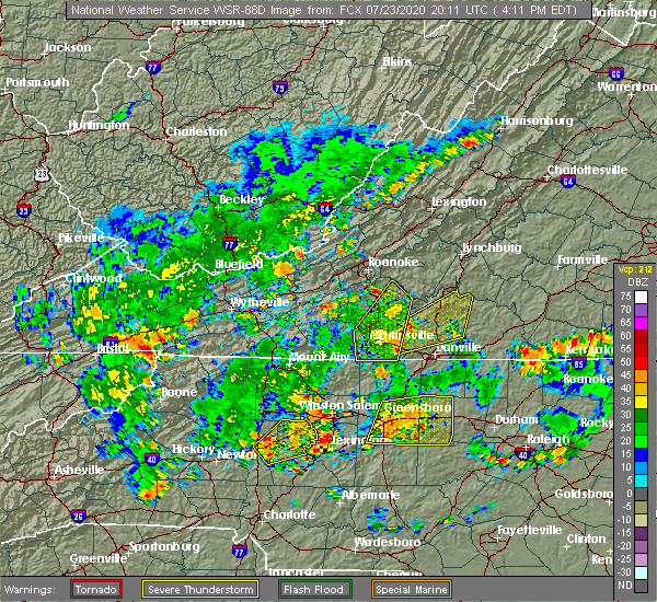 Radar Image for Severe Thunderstorms near Union Hall, VA at 7/23/2020 4:18 PM EDT