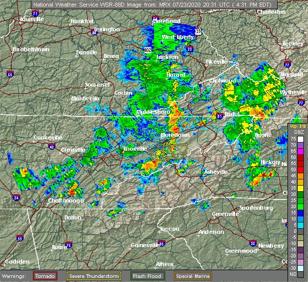 Radar Image for Severe Thunderstorms near Greeneville, TN at 7/23/2020 4:35 PM EDT