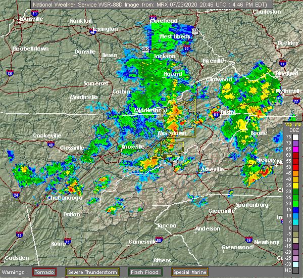 Radar Image for Severe Thunderstorms near Greeneville, TN at 7/23/2020 4:49 PM EDT
