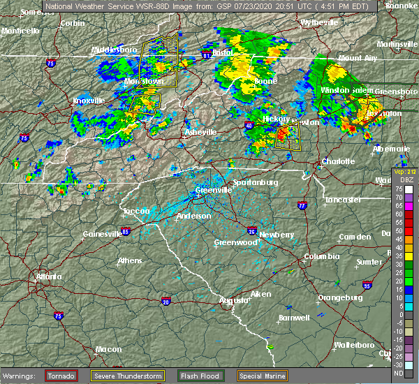 Radar Image for Severe Thunderstorms near Conover, NC at 7/23/2020 4:59 PM EDT