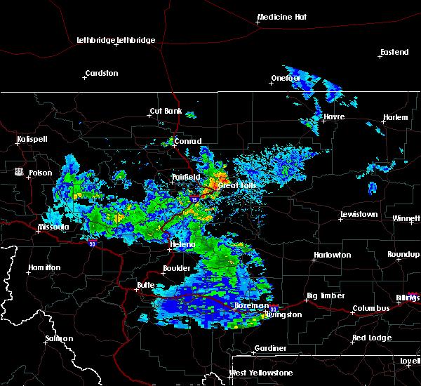 Radar Image for Severe Thunderstorms near Stockett, MT at 7/23/2020 4:07 PM MDT